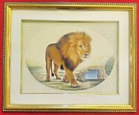 Hand Painted Fierce Lion Natural Miniature Painting India Framed Artwork Carved