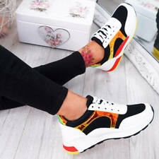 WOMENS LADIES LACE UP RUNNING TRAINERS GYM PLIMSOLL SNEAKERS FASHION SHOES SIZE