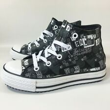 Kids Girls Boys Converse All Star Black Hi Leather Trainers Boots SIZE UK 12