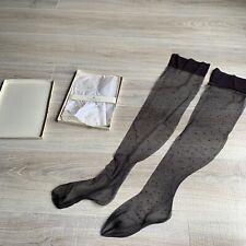 Vintage Victorias Secret Thigh High Sheer Gray Polka Dot 1 Pair NOS Hose Medium