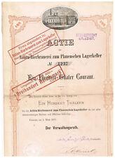 Aktien-Bierbrauerei zum Plauenschen Lagerkeller,Dresden 1873, 100 Thaler, deco