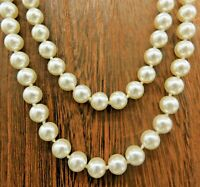 """Vintage Cream Off White Glass Bead Faux Pearl Necklace Long 61"""""""