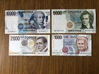 REPUBBLICA lotto 4 BANCONOTE LIRE 5000 BELLINI 10000 VOLTA 2000 MARCONI 1000
