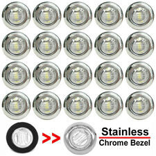 """20X 3/4"""" Round White LED Side Marker Light With Stailness Base for Truck Trailer"""