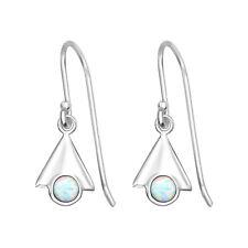 TJS Genuine 925 Sterling Silver Earrings Hook Triangle Dangle Fire Snow Opal
