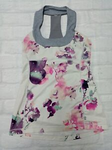 Lululemon Womens Workout Gym Yoga Workout Top in White & Pink Size 6