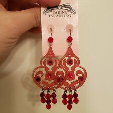 Tarina Tarantino Red Lucite Swarovski Crystal Dangle Chandelier Earrings