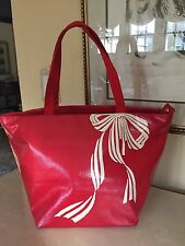 KATE SPADE Red Bow Tote Shoulder Bag Fabric Leather Trim EUC!!