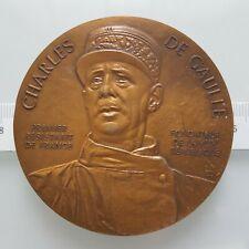 "France - bronze art medal ""Charles De Gaulle"" 72 mm, 204 gr"