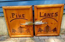 "Vintage Pine Lanes Wooden hand carved Freezer Door w/ Chrome Handles 23 x 30 """