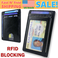 Minimalist Front Pocket Wallet RFID Blocking ID Small Credit Card Holder Purse