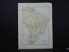 Black's 1876 Atlas, Map, Brazil, Uruguay, Paraguay, Guayana, M2#14
