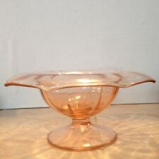 Elegant Pink Depression Glass Rolled Rim Comport