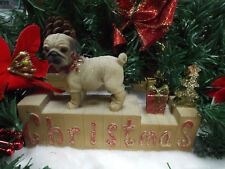 Christmas Pug Dog Mantel Block Decoration xm3427