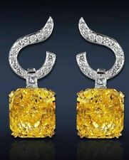 7 ct Each Cocktail Party Dangle Earring 925 Sterling Silver Fancy Yellow Asscher