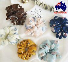 Floral Hair Scrunchies Bun Ring Elastic Fashion Sports Dance
