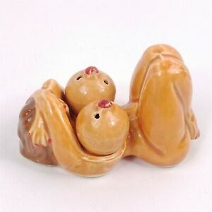 Ceramic Naked Nude Woman Laying Down Holder Boob Breast Salt & Pepper Shakers
