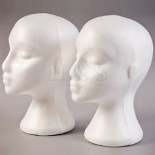 2x Polystyrene Female Mannequin Head Dummy Wig Stand Shop Display Hat Cap -White