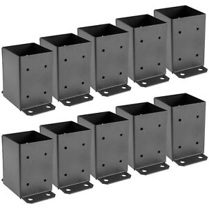 4 x 4 Post Base Post Anchor 10 PCs Black Powder-Coated Bracket for Deck Supports