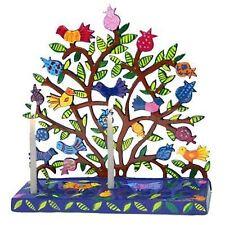 Hanukkah Menorah 9 Candle Holes Birds Pomegranates 19cm Chanukah Menora Jewish