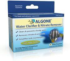 Algone Aquarium Water Clarifier Nitrate Remover 6 Filter Pouches Treats 1200 gal