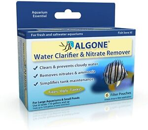 Algone Aquarium Water Clarifier Nitrate Remover 6 Filter Pouches Treats 1200 gal