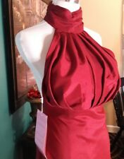 Red Halter Evening Formal Dress Gown Ball Cocktail Dresses Bridesmaid with Train