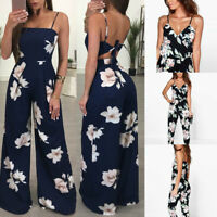 Women Ladies Sleeveless Floral Printed Playsuit Bodycon Party Jumpsuit Trousers