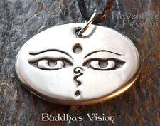 Buddha's Vision - Pewter Pendant - Eastern Meditation Jewelry, Buddhist Necklace