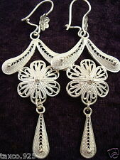 TAXCO MEXICAN 925 STERLING SILVER FILIGREE SCROLL FLORAL FLOWER EARRINGS MEXICO