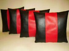 """4 en cuir synthétique housses de coussin en Noir & Rouge 12"""" Mini Scatter Oreillers"""