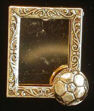 Soccer Ball Photo Frame Pin Soccerball 24kt Gold Plate
