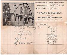RARE Advertising Billhead Ford Jeffery & Oakland Cars Garage Canandaigua NY 1917