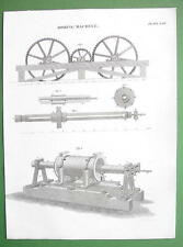 BORING MACHINE - 1830 Antique Print Engraving