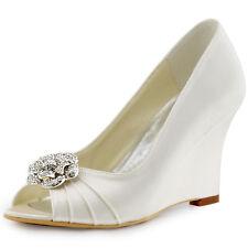 WP1547 Ivory Peep Toe Wedge Heel Flower Rhinestones Women Wedding Bridal Shoes