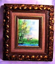 Antique Small Hand Carved Wooden Picture Frame Enamel on Copper by Pippa