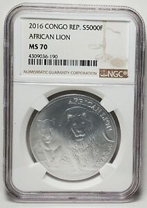 2016 CONGO 5000 FRANCS SILVER AFRICAN LION NGC MS 70-BROWN LABEL-Free USA Ship