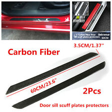 Pair 60cm Real Carbon Fiber Car Scuff Plate Door Sill Cover Panel Step Protector