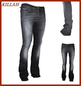 Killah jeans da donna vita alta elasticizzati pantaloni a zampa stretti w25 w28