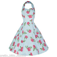 PRETTY KITTY 50s VINTAGE BLUE FLORAL SWING PROM DRESS 8-16 *FREE UK POSTAGE*