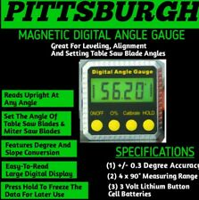 PITTSBURGH Magnetic Digital Angle Gauge Meter Level Precise Stainless Steel NEW!
