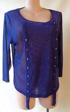 Taking Shape blue mesh plus size L/22 long top 3/4 sleeve