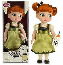 "Disney Store Animators Collection Anna Doll w/ Plush Olaf 16"" Frozen Toddler NEW"