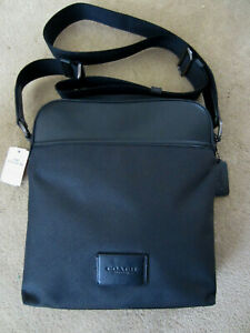 COACH F37609 Men's Crossbody Nylon Leather Messenger Bag Black $295
