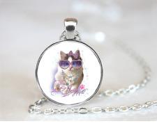 Kitten Rhinestone PENDANT NECKLACE Chain Glass Tibet Silver Jewellery