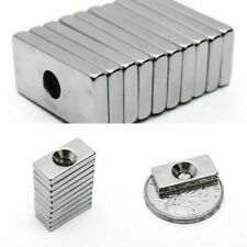 10Pcs 20 X 10 X 3 Mm 4mm Hole N35 Super Strong Rare Earth Ring Block Tool New