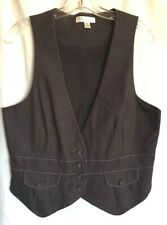 Chocolate Brown Career Denim WOMENS Cotton Blend Suit Vest ~Lined~ Sz M