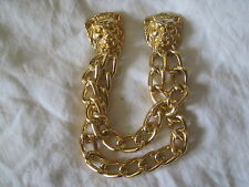 parts / chain handle ?? metal lion heads double head gold-tone marked Jones