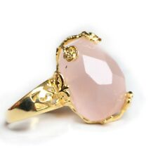 Rose Flower Style Genuine Pink Rose Quartz Yellow Gold Plated Adjustable Rings