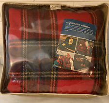 "Vtg Nwt ""Highland"" Pattern Red/Blue Pendleton Stadium Blanket Plaid Wool w/Case"